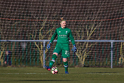 LIVERPOOL, ENGLAND - Sunday, February 4, 2018: Liverpool's goalkeeper Rebecca Flaherty during the Women's FA Cup 4th Round match between Liverpool FC Ladies and Watford FC Ladies at Walton Hall Park. (Pic by David Rawcliffe/Propaganda)