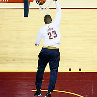 10 June 2016:  Cleveland Cavaliers forward LeBron James (23) warms up prior to the Golden State Warriors 108-97 victory over the Cleveland Cavaliers, during Game Four of the 2016 NBA Finals at the Quicken Loans Arena, Cleveland, Ohio, USA.