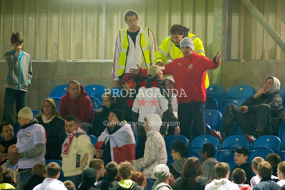 BROUGHTON, WALES - Wednesday, October 13, 2010: Wales and Poland supporters during the Under-23 Semi-Pro International International Challenge Trophy match at the Airfield. (Pic by David Rawcliffe/Propaganda)