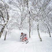 Charlie Cohn shreds the trees on Mt Isola, Rusutsu Resort, Japan.