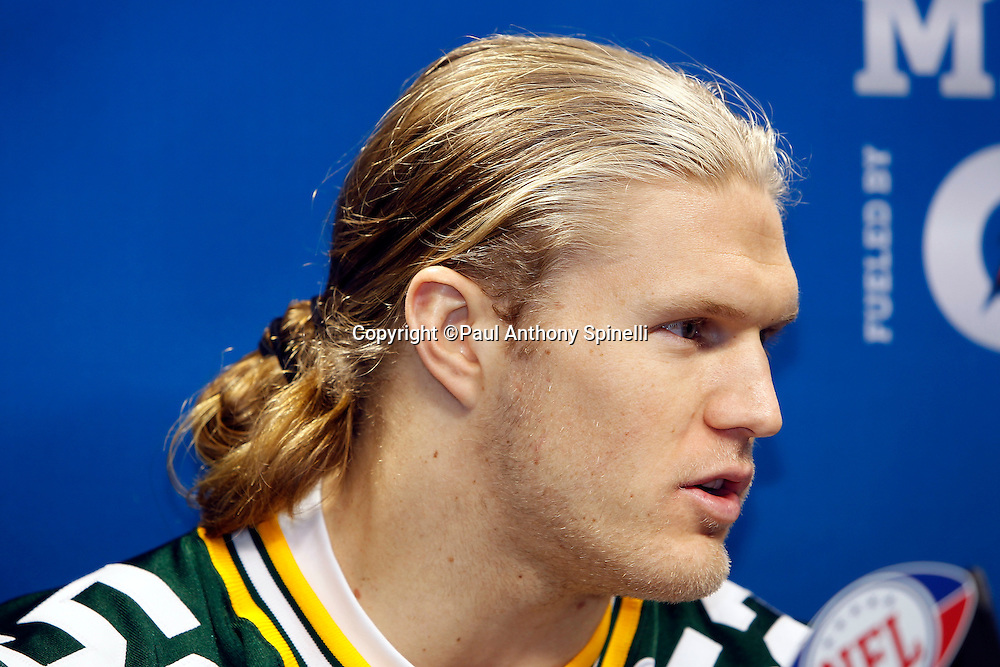 Green Bay Packers linebacker Clay Matthews (52) speaks to the press at Super Bowl XLV media day prior to NFL Super Bowl XLV against the Pittsburgh Steelers. Media day was held on Tuesday, February 1, 2011 in Arlington, Texas. ©Paul Anthony Spinelli