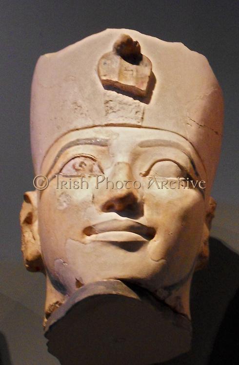 Statue head of Hatshepsut Queen of Egypt. Head of an Osiride Statue of Hatshepsut. 18th Dynasty Joint reign of Hatshepsut and Thutmose III ca. 1473–1458 B.C. Egypt, Thebes, Deir el-Bahri, Limestone, paint