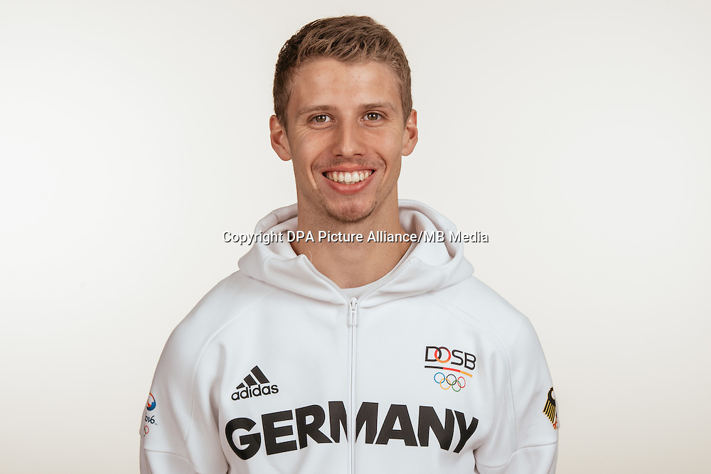 Fabian Heinle poses at a photocall during the preparations for the Olympic Games in Rio at the Emmich Cambrai Barracks in Hanover, Germany, taken on 18/07/16   usage worldwide