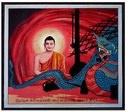 Buddhist wall art in Sri Lanka