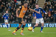 Ahmed Elmohamady (Hull City) takes a shot during the Sky Bet Championship match between Hull City and Cardiff City at the KC Stadium, Kingston upon Hull, England on 13 January 2016. Photo by Mark P Doherty.