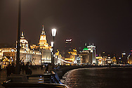 China, Shanghai. The bund at night, art deco building