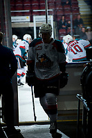 KELOWNA, CANADA - MARCH 7:  James Hilsendager #2 of the Kelowna Rockets exits the ice after warm up against the Vancouver Giants on March 7, 2018 at Prospera Place in Kelowna, British Columbia, Canada.  (Photo by Marissa Baecker/Shoot the Breeze)  *** Local Caption ***