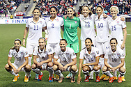 24 October 2014: U.S. starters. Front row (left to right): Tobin Heath (USA), Whitney Engen (USA), Christie Rampone (USA), Christen Press (USA), Meghan Klingenberg (USA). Back row (left to right): Ali Krieger (USA), Sydney Leroux (USA), Hope Solo (USA) Lauren Holiday (USA), Carli Lloyd (USA), Megan Rapinoe (USA). The United States Women's National Team played the Mexico Women's National Team at PPL Park in Chester, Pennsylvania in a 2014 CONCACAF Women's Championship semifinal game, which serves as a qualifying tournament for the 2015 FIFA Women's World Cup in Canada. The United States won the game 3-0. With the victory the U.S. advanced to the championship game and qualified for next year's Women's World Cup.
