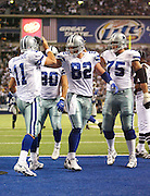 IRVING, TX - OCTOBER 23:  Quarterback Drew Bledsoe #11 of the Dallas Cowboys celebrates with teammates after running the ball for a 1 yard touchdown in the 2nd quarter against the New York Giants at Texas Stadium on October 23, 2006 in Irving, Texas. The Giants defeated the Cowboys 36-22. ©Paul Anthony Spinelli *** Local Caption *** Drew Bledsoe