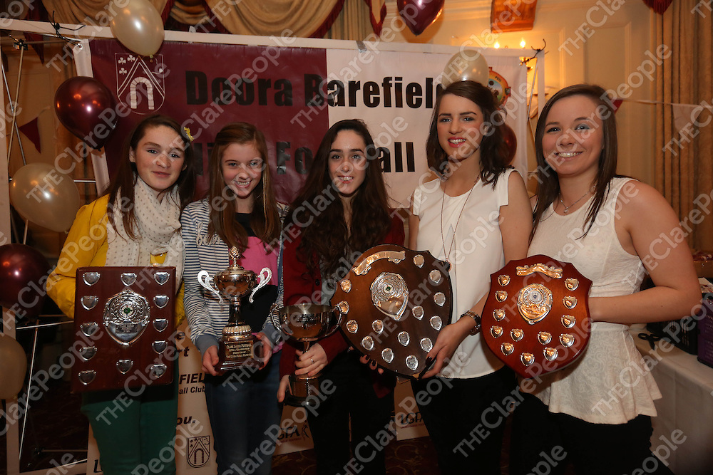 The Captains&Eacute;..Siofra Ni Chomaill -U12, Aisling Reidy - U12, Enya Feerick - U14, Caoimhe Hoey - U16 and Fiona Tuohy - Minor pictured at the DooraB for the Ladies Football Medal Presentation at the Old Ground Hotel on Saturday.<br /> Pic. Brian Arthur/ Press 22.<br /> The Captains&hellip;..Siofra Ni Chomaill -U12, Aisling Reidy - U12, Enya Feerick - U14, Caoimhe Hoey - U16 and Fiona Tuohy - Minor pictured at the DooraB for the Ladies Football Medal Presentation at the Old Ground Hotel on Saturday.<br /> Pic. Brian Arthur/ Press 22.