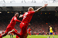 Martin Skrte of Liverpool celebrates scoring his first goal of the game during the Barclays Premier League match at Anfield, Liverpool<br /> Picture by David Horn/Focus Images Ltd +44 7545 970036<br /> 08/02/2014