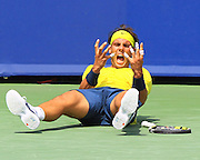 Aug 18, 2013; Cincinnati, OH, USA; Rafael Nadal (ESP) celebrates winning a match against John Isner (USA) (not pictured) at the Western & Southern Open at the Lindner Family Tennis Center. Mandatory Credit: Pat Lovell-USA TODAY Sports