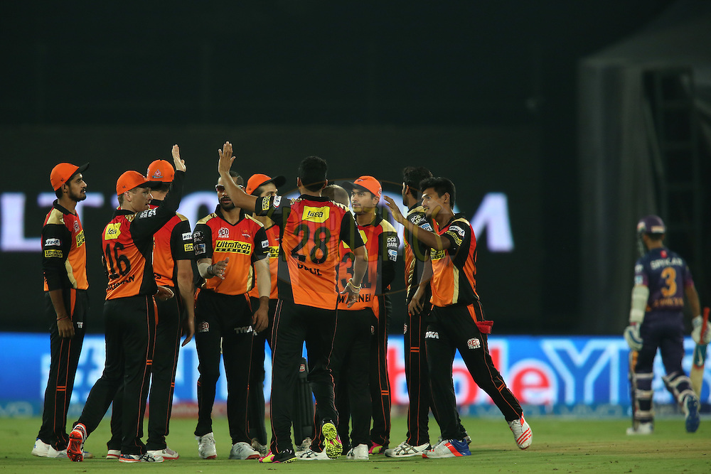 Eoin Morgan of Sunrisers Hyderabad is congratulated by Bipul Sharma of Sunrisers Hyderabad for taking the catch to get Ajinkya Rahane of Rising Pune Supergiants wicket during match 22 of the Vivo IPL 2016 (Indian Premier League) between the Sunrisers Hyderabad and the Rising Pune Supergiants held at the Rajiv Gandhi Intl. Cricket Stadium, Hyderabad on the 26th April 2016<br /> <br /> Photo by Shaun Roy / IPL/ SPORTZPICS