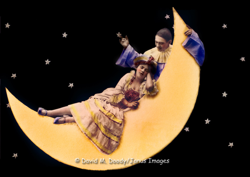 Vintage Image.Woman with a wizard man on the moon, circa 1910. Realphoto postcard