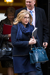 © Licensed to London News Pictures. 20/02/2018. London, UK. Secretary of State for International Development Penny Mordaunt (C) leaves 10 Downing Street after the weekly Cabinet meeting. Photo credit: Rob Pinney/LNP