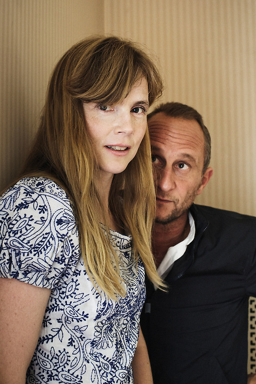 PARIS, FRANCE. SEPTEMBER 9, 2011. French actress Isabelle Carre and Belgian actor Benoit Poelvoorde at the Hotel de l'Abbaye. Photo: Antoine Doyen