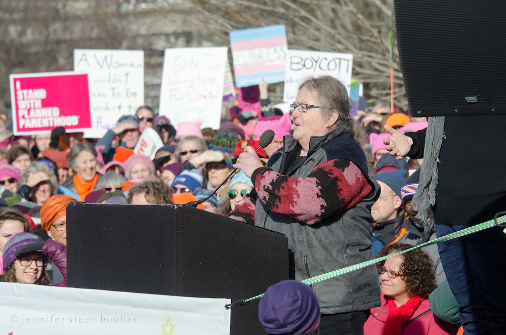 Augusta, Maine, USA. 21st Jan, 2017.  Lois Galgay-Reckitt of the House of Representatives addresses the Women's March on Maine rally in front of the Maine State Capitol. The March on Maine is a sister rally to the Women's March on Washington.