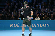 Andy Murray (Great Britain) celebrates winning a point during the final of the Barclays ATP World Tour Finals at the O2 Arena, London, United Kingdom on 20 November 2016. Photo by Phil Duncan.