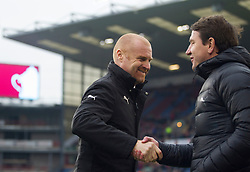 Burnley manager Sean Dyche (L) and Barnsley manager Daniel Stendel shake hands before the match - Mandatory by-line: Jack Phillips/JMP - 05/01/2019 - FOOTBALL - Turf Moor - Burnley, England - Burnley v Barnsley - English FA Cup