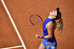 PARIS, June 1, 2017  Elina Svitolina of Ukraine celebrates after beating Tsvetana Pironkova of Bulgaria during the women's singles 2nd round match at the French Open Tennis Tournament 2017 in Paris, France on June 1, 2017. (Credit Image: © Chen Yichen/Xinhua via ZUMA Wire)