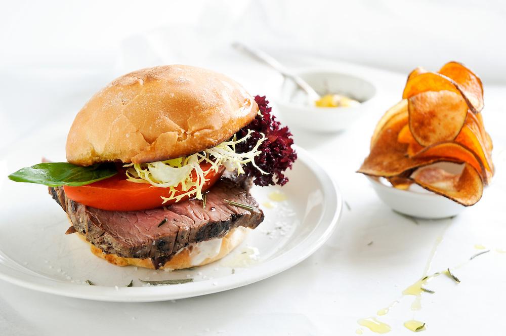 Steak Sandwich with Sweet Potato Chips