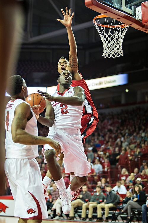FAYETTEVILLE, AR - NOVEMBER 15:  Alandise Harris #2 of the Arkansas Razorbacks goes up for a shot against the Louisiana Ragin' Cajuns at Bud Walton Arena on November 15, 2013 in Fayetteville, Arkansas.  The Razorbacks defeated the Ragin' Cajuns 76-63.  (Photo by Wesley Hitt/Getty Images) *** Local Caption *** Alandise Harris