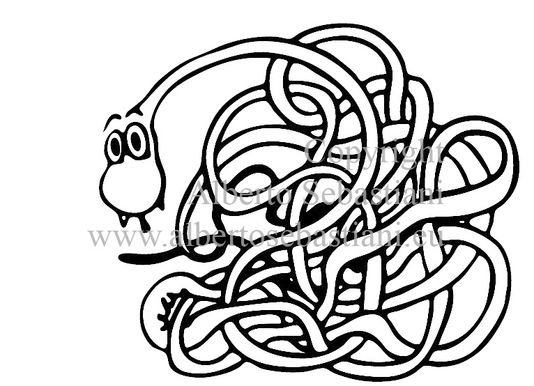 a free hand drawn, clean editable vector representing a comic snake