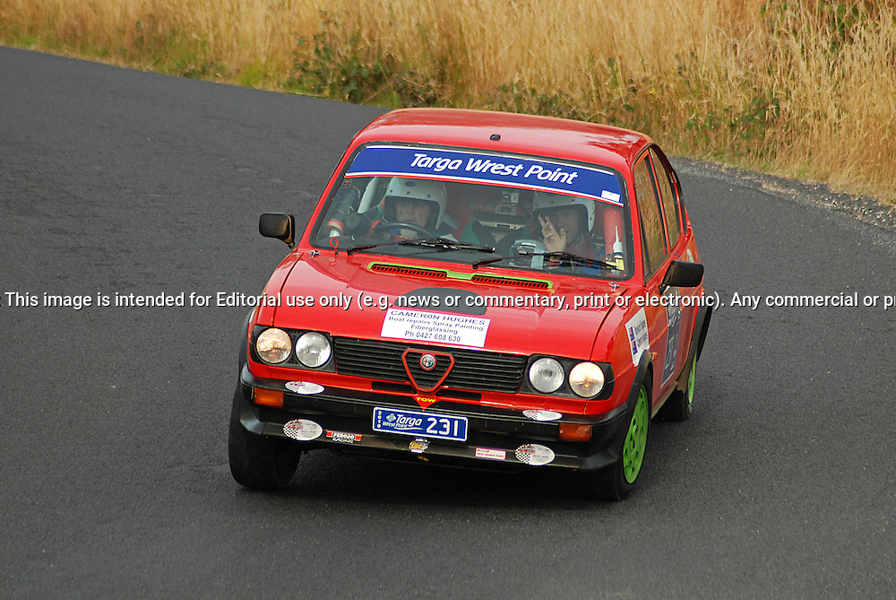 231 Warwick Hughes & Cameron Hughes..1983 Alfa Romeo Sud TI.Day 2.Targa Wrest Point 2010.Southern Tasmania.31st of January 2010.(C) Sarah Biggin.Use information: This image is intended for Editorial use only (e.g. news or commentary, print or electronic). Any commercial or promotional use requires additional clearance.