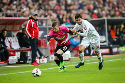 18.03.2017, Rhein Energie Stadion, Koeln, GER, 1. FBL, 1. FC Koeln vs Hertha BSC, 25. Runde, im Bild vl. Mitchell Weiser (Berlin, #23), Jonas Hector (FC Koeln, #14) // during the German Bundesliga 25th round match between 1. FC Cologne and Hertha BSC at the Rhein Energie Stadion in Koeln, Germany on 2017/03/18. EXPA Pictures © 2017, PhotoCredit: EXPA/ Eibner-Pressefoto/ Horn<br /> <br /> *****ATTENTION - OUT of GER*****