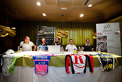 Slovenian riders Kristijan Koren of Liquigas, Grega Bole of Lampre, moderator Jure Mastnak, Jani Brajkovic of Team RadioShack and Borut Bozic of Vacansoleil at press conference before cycling race Tour de France 2011, on June 27, 2011, in Crnuce, Ljubljana, Slovenia. (Photo by Vid Ponikvar / Sportida)