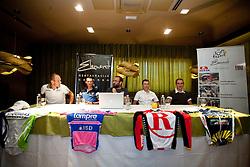 Slovenian riders Kristijan Koren of Liquigas, Grega Bole of Lampre, moderator Jure Mastnak, Jani Brajkovic of Team RadioShack and Borut Bozic of Vacansoleil at press conference before cycling race Tour de France 2011, on June 27, 2011, in Crnuce, Ljubljana, Slovenia. (Photo by Vid Ponikvar / Sportida)