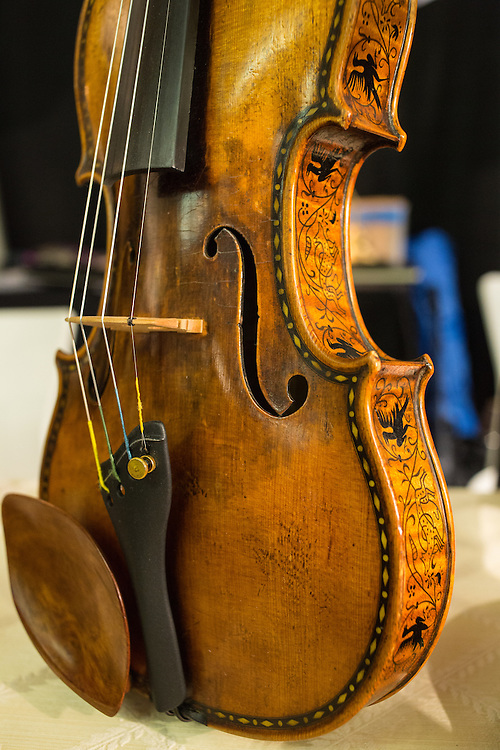 A violin from the collection of Nick Frirsz, of Frirsz Music. The violin was made in 1947, and was taken apart and smuggled out of Hungary when the family escaped the communists.