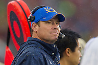 17 October 2012: Head coach Jim Mora, Jr. of the UCLA Bruins coaches against the USC Trojans during UCLA's 38-28 victory over USC at the Rose Bowl in Pasadena, CA.