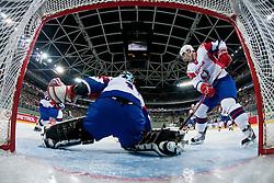 Andrej Hocevar of Slovenia and Ziga Pavlin of Slovenia during ice-hockey match between Slovenia and Japan at IIHF World Championship DIV. I Group A Slovenia 2012, on April 16, 2012 at SRC Stozice, Ljubljana, Slovenia. (Photo By Matic Klansek Velej / Sportida.com)