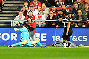 Frank Fielding (1) of Bristol City makes a save from Ahmed Elmohamady (27) of Aston Villa during the EFL Sky Bet Championship match between Bristol City and Aston Villa at Ashton Gate, Bristol, England on 25 August 2017. Photo by Graham Hunt.