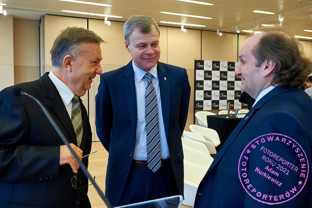 (L) Journalist Karol Stopa and (C) Vicepresident The Polish Tennis Federation Piotr Szkielkowski and (R) The Polish Tennis Federation president Jacek Muzolf during official draw one day before the Fed Cup / World Group 1st round tennis match between Poland and Russia at Holiday Inn on February 6, 2015 in Cracow, Poland.<br /> <br /> Poland, Cracow, February 6, 2015<br /> <br /> Picture also available in RAW (NEF) or TIFF format on special request.<br /> <br /> For editorial use only. Any commercial or promotional use requires permission.<br /> <br /> Adam Nurkiewicz declares that he has no rights to the image of people at the photographs of his authorship.<br /> <br /> Mandatory credit:<br /> Photo by &copy; Adam Nurkiewicz / Mediasport