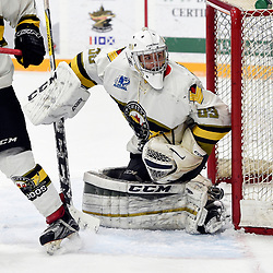 "TRENTON, ON  - MAY 3,  2017: Canadian Junior Hockey League, Central Canadian Jr. ""A"" Championship. The Dudley Hewitt Cup. Game 3 between Powassan Voodoos and the Dryden GM Ice Dogs. Nate McDonald #33 of the Powassan Voodoos protects the crease during the second period.<br /> (Photo by Andy Corneau / OJHL Images)"