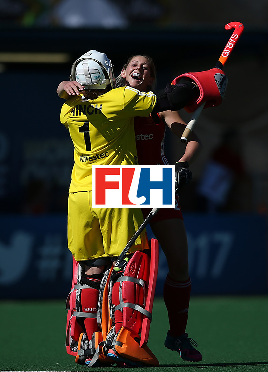 JOHANNESBURG, SOUTH AFRICA - JULY 23:  Zoe Shipperley and Maddie Hinch, goalkeeper of England celebrates a goal during day 9 of the FIH Hockey World League Women's Semi Finals 3rd/ 4t place match between England and Argentina at Wits University on July 23, 2017 in Johannesburg, South Africa.  (Photo by Jan Kruger/Getty Images for FIH)