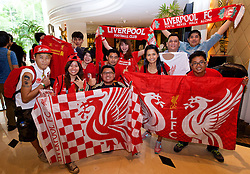 BANGKOK, THAILAND - Monday, July 13, 2015: Liverpool supporters wait to see the players at the Plaza Athenee team hotel in Bangkok Thailand on day one of the club's preseason tour. (Pic by David Rawcliffe/Propaganda)