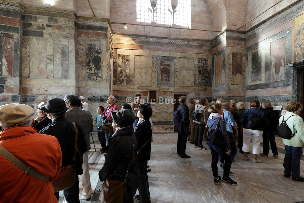 group tourism inside the historical Chora church Istanbul Turkey