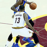 09 June 2017: Cleveland Cavaliers center Tristan Thompson (13) defends on Golden State Warriors forward Kevin Durant (35) during the Cleveland Cavaliers 137-11 victory over the Golden State Warriors, in game 4 of the 2017 NBA Finals, at  the Quicken Loans Arena, Cleveland, Ohio, USA.