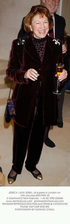 JESSICA, LADY JESSEL at a party to celebrate the opening of Illuminata, a new spa at 63 South Audley Street, London W1 on 14th January 2003.