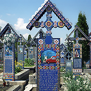 Decorated tombstones in the Merry Cemetery, Sapanta, Maramures, Romania, 23rd July 2011. Photo Tim Clayton