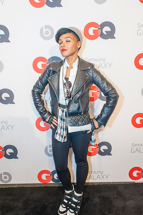 Janelle Monae, posing at the GQ & Lebron James NBA All Star Style party sponsored by Samsung Galaxy on Saturday, February 15, 2014, at the Ogden Museum of Southern Art in New Orleans, Louisiana with live jam session from grammy Award-winning Artist The Roots. Photo Credit: Gustavo Escanelle / Retna Ltd.