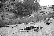 People sleeping in the sand dunes behind the<br />