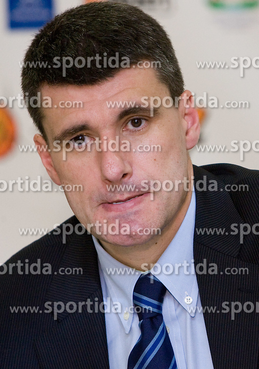 Head coach of Cibona Velimir Perasovic at press conference after the second semifinal match of League NLB Final Four tournament  between KK Cibona Zagreb and KK Union Olimpija Ljubljana, on April 23, 2010, in Arena Zagreb, Zagreb, Croatia. (Photo by Vid Ponikvar / Sportida)