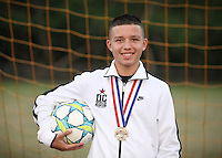 (CH) Frederick Gil, player of the Sunrise Elite U14 soccer team, poses at Flamingo park on April 12, 2012. Staff photo/Cristobal Herrera