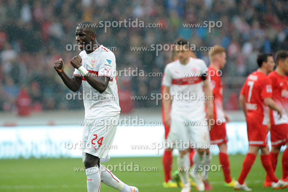 05.04.2014, Mercedes Benz Arena, Stuttgart, GER, 1. FBL, VfB Stuttgart vs SC Freiburg, 29. Runde, im Bild Riesenfreude bei Antonio Ruediger (VfB Stuttgart) nach dem 2:0 Sieg gegen Freiburg. // during the German Bundesliga 29th round match between VfB Stuttgart and SC Freiburg at the Mercedes Benz Arena in Stuttgart, Germany on 2014/04/05. EXPA Pictures &copy; 2014, PhotoCredit: EXPA/ Eibner-Pressefoto/ Stuetzle<br /> <br /> *****ATTENTION - OUT of GER*****