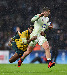 Jonny May of England is tackled - Mandatory byline: Patrick Khachfe/JMP - 07966 386802 - 18/11/2017 - RUGBY UNION - Twickenham Stadium - London, England - England v Australia - Old Mutual Wealth Series International