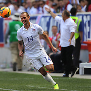 Brad Davis, (left), USA, encouraged by head coach Jurgen Klinsmann during the US Men's National Team Vs Turkey friendly match at Red Bull Arena.  The game was part of the USA teams three-game send-off series in preparation for the 2014 FIFA World Cup in Brazil. Red Bull Arena, Harrison, New Jersey. USA. 1st June 2014. Photo Tim Clayton